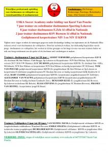 USKA Soccer Academy stages onder leiding van Karel Van Poucke